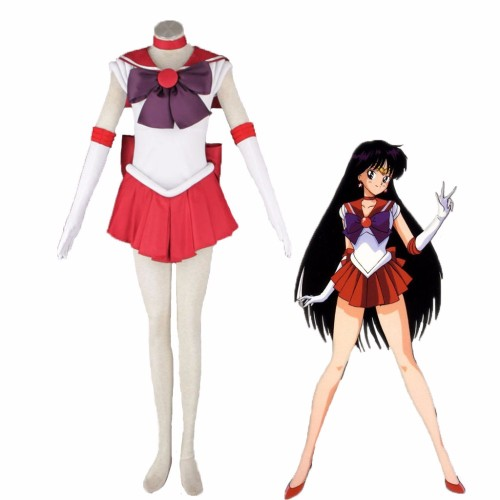 Anime Sailor Moon Sailor Mars Hino Rei Cosplay Costume Whole Set With Wigs Carnival Halloween Party Cosplay Outfit