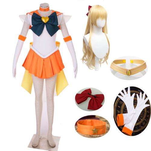Anime Sailor Moon Sailor V Minako Aino Cosplay Costume With Wigs Halloween Sailor Uniform  Costume For Girls Women