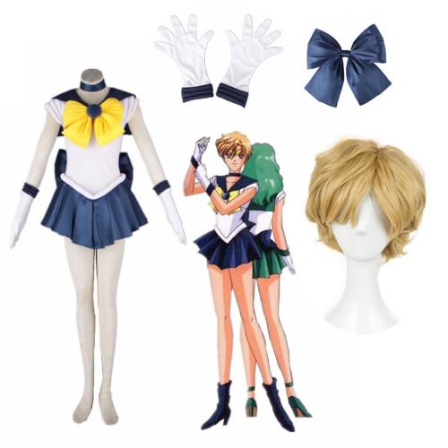 Anime Sailor Moon Sailor Uranus Tenoh Haruka Cosplay Uniform Costume With Wigs Set