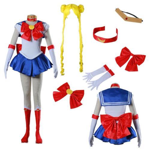 Anime Sailor Moon Tsukino Usagi Costume Whole Set With Wigs Sailor Suit Cosplay Costume