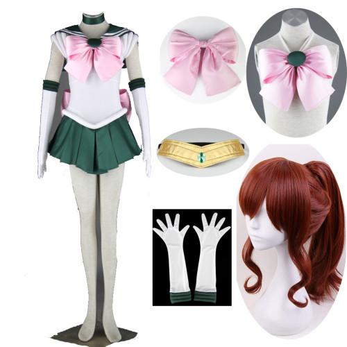 Anime Sailor Moon Sailor Jupiter Kino Makoto Cosplay Costume With Wigs Set Halloween Cosplay Outfit