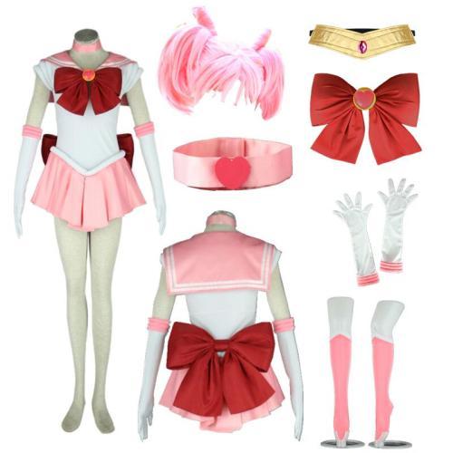 Anime Sailor Moon Tsukino Usagi Small Lady Serenity Chibiusa Cosplay Costume Whole Set With Wigs