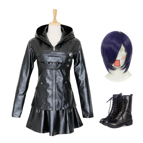 Anime Tokyo Ghoul Touka Kirishima Cosplay Costume Whole Set PU Fighting Suit Costume With Wigs and Boots