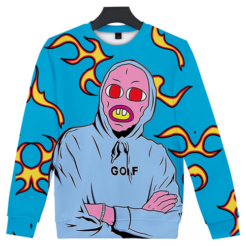 Tyler The Creator 3 D Print Round Neck Sweatshirt Long Sleeve Pullover Casual Tops