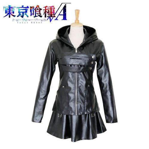 Anime Tokyo Ghoul Touka Kirishima Cosplay Costume PU Leather Halloween Costume Dress