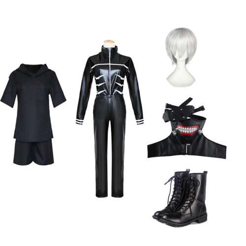 Anime Tokyo Ghoul Ken Kaneki Cosplay Costume Whole Set WIth Wigs Mask and Boots Carnival Halloween Party Cosplay Outfit
