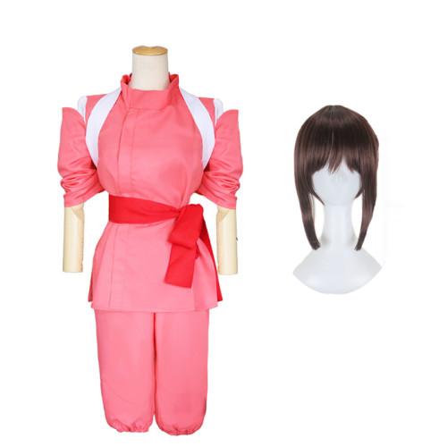 [Kids/ Adults] Anime Movie Spirited Away Ogino Chihiro Cosplay Costume With Wigs Halloween Costume Full Set