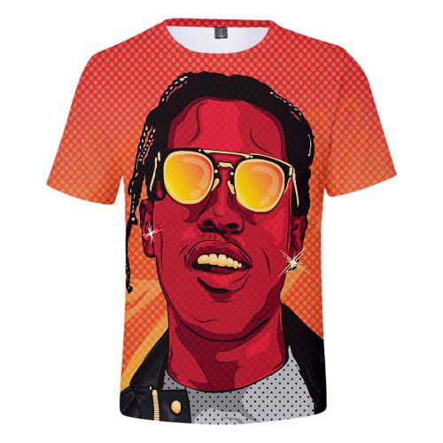 Asap Rocky 3-D Short Sleeve T-shirt Men Women Hip Hop Streetwear Tee Graphic Printed Casual Short Sleeve Vintage Tee