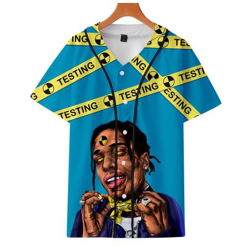 Asap Rocky 3-D Shirt Men Casual Loose V Neck T-Shirt Hip Hop Streetwear Harajuku Vintage Tee