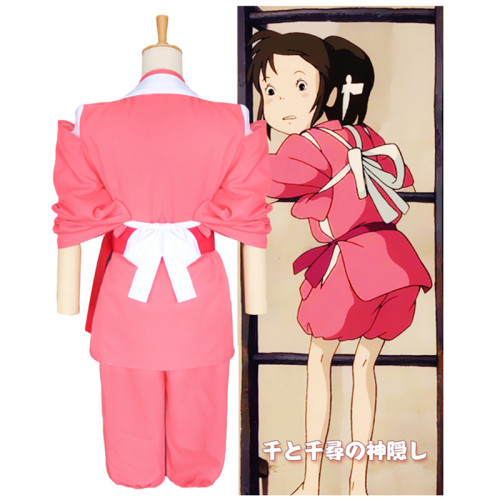 [Kids/ Adults] Anime Movie Spirited Away Ogino Chihiro Cosplay Costume Halloween Party Costume Outfit