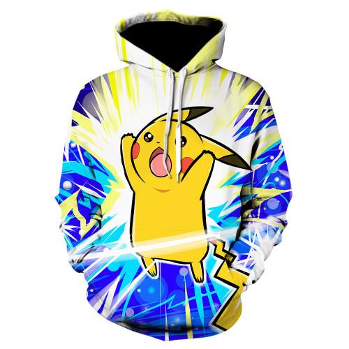 Pokemon Fashion 3-D Print Loose Casual Long Sleeves Unisex Casual Hooded Sweatshirt