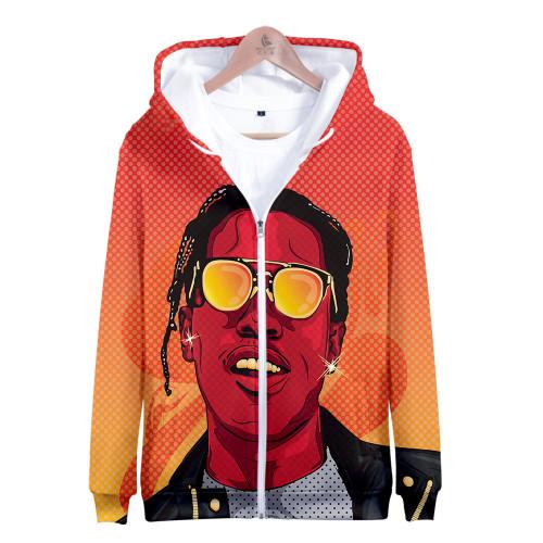 Asap Rocky Zipper Jacket Men Women Casual Hooded Zip Up Jacket With Fleece Inside Hip Hop Strertwear Outfit