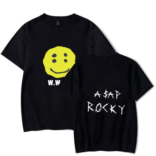 Asap Rocky Smile Face Print Graphic Printed Casual Short Sleeve Tee Men Women Hip Hop Streetwear Tops