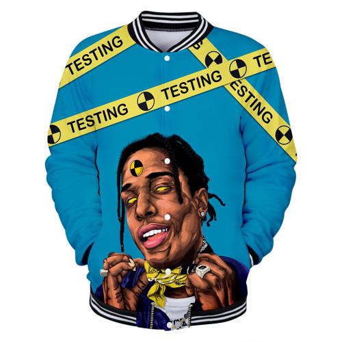 Asap Rocky 3-D Button Down Jacket Men Women Hip Hop Baseball Jacket Hip Hop Streetwear Coat