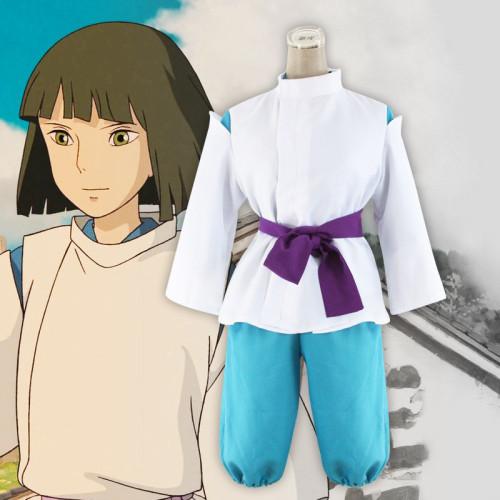 [Kids/ Adults] Anime Movie Spirited Away Nigihayami Kohakunushi Haku Cosplay Costume Full Set Halloween Party Cosplay Outfit