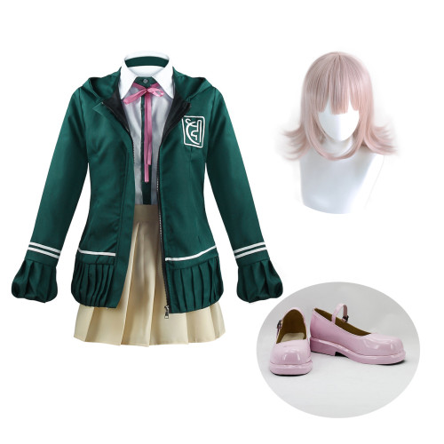 Danganronpa Nanami ChiaKi Halloween Whole Set Cosplay Costume With Wigs and Cosplay Shoes Set Halloween Costume Outfit