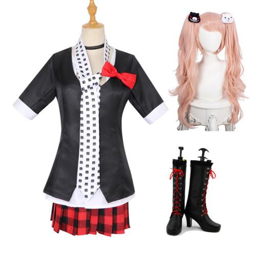 Danganronpa Junko Enoshima Cosplay Costume Uniform Suit With Wigs and Cosplay Boots Halloween Costume Whole Set