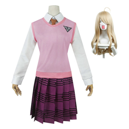 Danganronpa V3 Kaede Akamatsu Cosplay Cosplay Uniform With Wigs Set Halloween Cosplay Whole Set Outfit