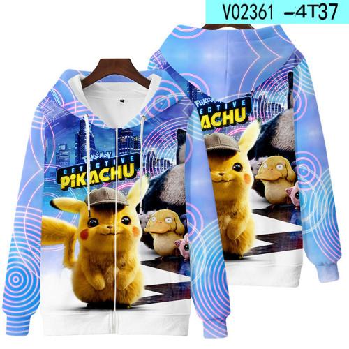 Pokemon Trendy Fall and Winter Zipper Coat Unisex Fashion Loose Coat