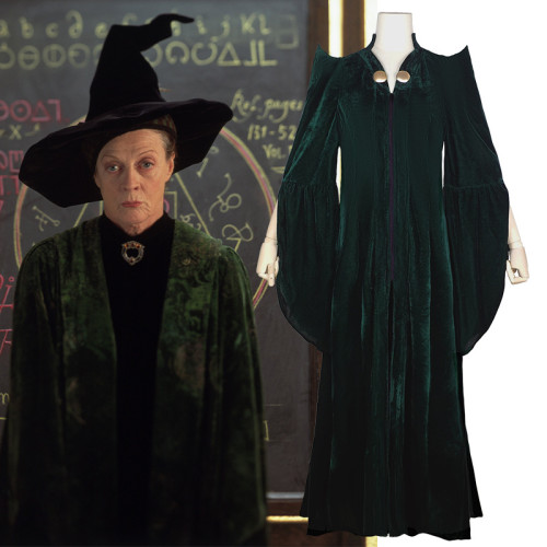 [Kids/Adults] Harry Potter Professor Minerva McGonagall Cosplay Costume With Hat Halloween Party Outfit