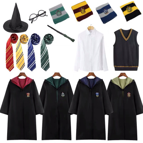[Kids/Adults] Wizarding World Costume 7pcs Set Harry Potter Gryffindor Hufflepuff Ravenclaw Slytherin Costume Robe With Accessories Full Set