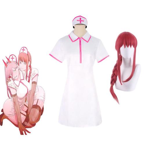 Anime Chainsaw Man Makima Nurse Suit Costume With Wigs Halloween Costume Full Set