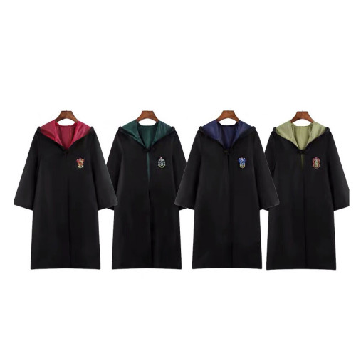 [Kids/Adults] Wizarding World Harry Potter Costume Robe Halloween Cosplay Costume Hooded Cloak and Accessories