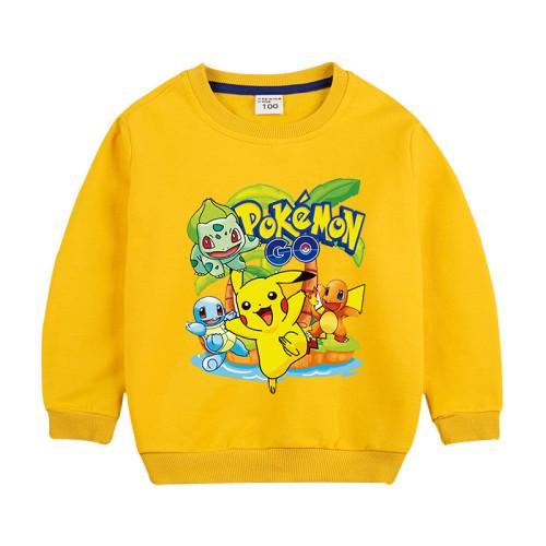 Pokemon Kids Trendy Round Neck Hoodie Long Sleeves Unisex Hoodie