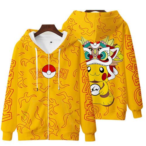Pokemon Kids Naruto Casual Zipper Unisex Fashion Loose Coat