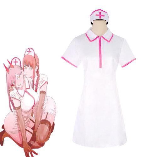 Anime Chainsaw Man Makima/ Power Nurse Uniform Costume Halloween Cosplay Outfit With Socks