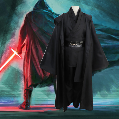 Star Wars Anakin Skywalker Sith Jedi Cosplay Costume Black Halloween Costume Full Set With Cloak