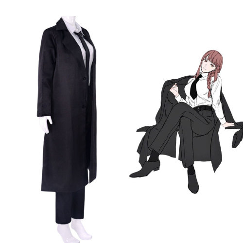 Anime Chainsaw Man Makima Black Cloak Costume Full Set Halloween Costume Outfit