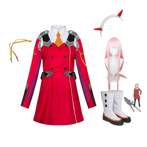 Anime Darling In The Franxx ZERO TWO 002 Strelizia Red Uniform Costume With Wigs and Boots Halloween Costume Whole Set