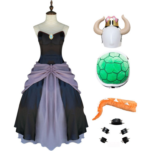 Game Mario Bowsette Princess Bowser Kuppa Hime Koopa Cosplay Dress Costume Whole Set With Horns and Turtle Shell