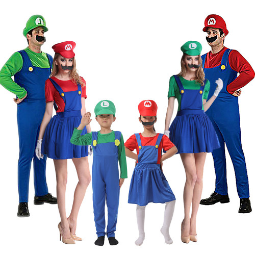 [ Kids/Adults ]Classic Mario and Luigi Family Costume Men Women Cosplay Outfit Costume For Adulst and Children