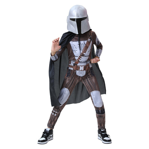 The Mandalorian Kids Costume Cosplay Suit With Cloak and Mask Halloween Costume For Kids