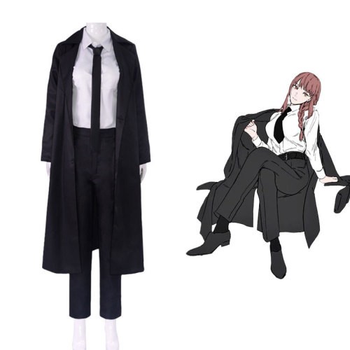 Anime Chainsaw Man Makima Black Cloak Costume Full Set With Wigs Halloween Women Girls Costume Outfit