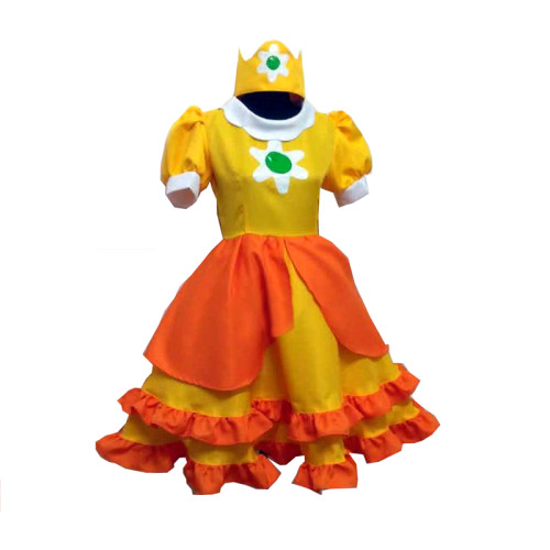 Game Mario Princess Daisy Cosplay Costume Girls Cute Lolita Dress Fancy Halloween Carnival Uniforms