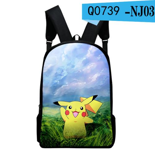 Pokemon Students Backpack School Book Bag Big Capacity Rucksack Travel Bag