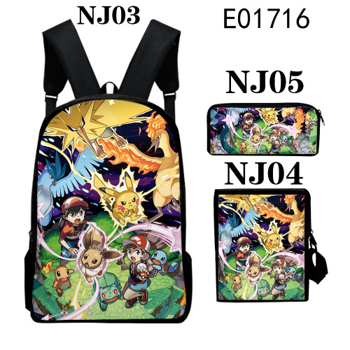 Pokemon Youth Kids School Backpack Book Bag With Lunch Box Bag and Pencil Bag 3 Piece Set