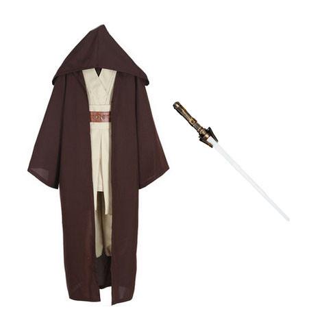 Star Wars Anakin Skywalker Sith Jedi Obi- Wan Kenobi Brown Version Cosplay Costume With Lightsaber