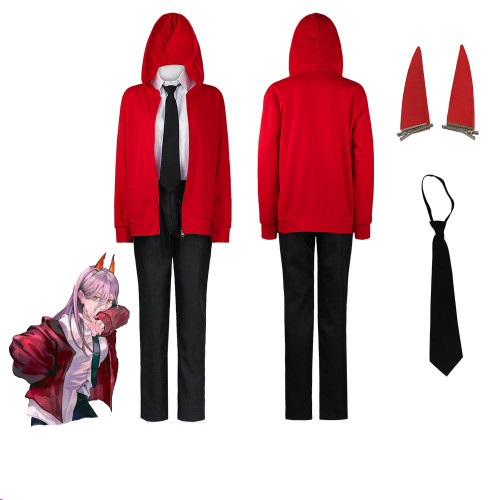 Anime Chainsaw Man Power Costume Red Jacket Suit Coaplay Costume With Wigs and Horns Halloween Cosplay Set