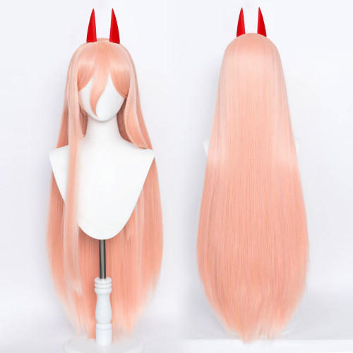 Anime Chainsaw Man Power Orange/Pink Wigs Cosplay Wigs With Horns