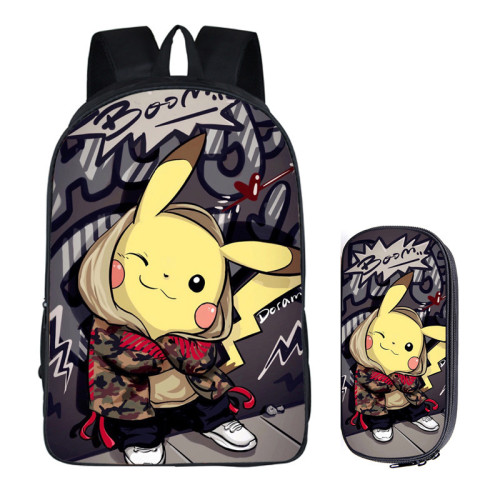 Pokemon Fashion Backpack 2 Pieces Set School Backpack and Pencil Bag