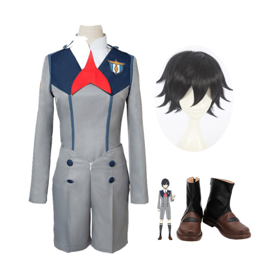 Anime Darling In The Franxx HIRO 016 Cosplay Uniform Full Set With Wigs and Shoes Halloween Costume Whole Set