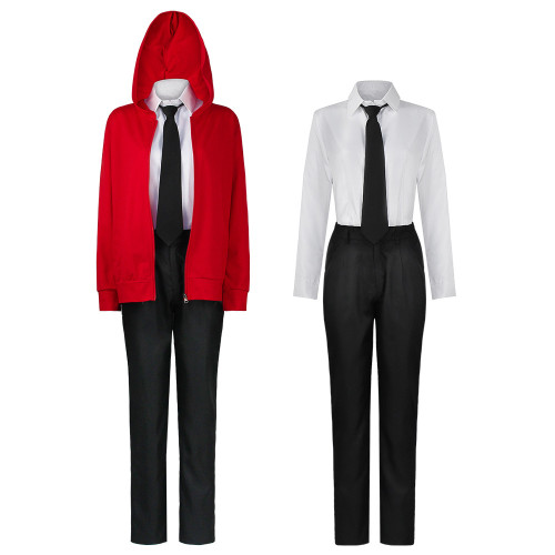 Anime Chainsaw Man Power Costume Red Jacket Shirt Pants Halloween Cosplay Outfit With Horns