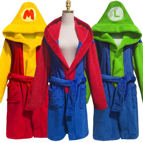 [ Kids/Adults ]Classic Mario and Luigi Costume Men Women Hooded Robe Flannel Bathrobe Cloak Costume