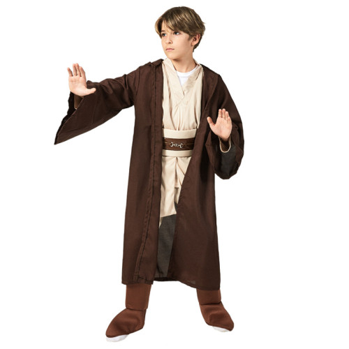 Kids Star Wars Anakin Skywalker Jedi Costume Brown Costume With Cloak and Lightsaber Full Set Outfit