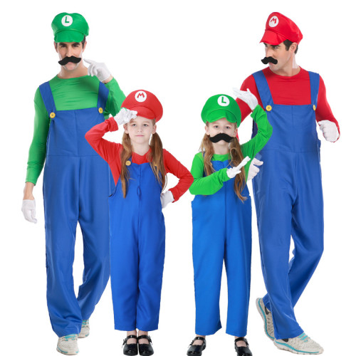 [ Kids/Adults ]Classic Mario and Luigi Costume For Adults and Kids Parents and Child Matching Halloween Costume