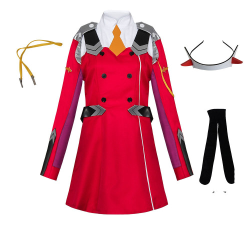 Anime Darling In The Franxx ZERO TWO 002 Strelizia Red Uniform Costume With Wigs Women Girls Halloween Costume Outfit